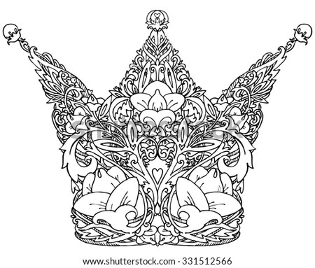 Decorative royal crown. Graphic illustration royal crown. handmade art illustration handmade art illustration for fashion print, poster for textiles, fashion design, tattoo design,