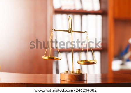 Decorative Scales of Justice , law and justice concept.