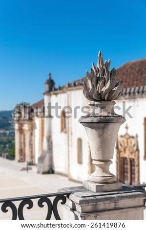 Decorative sculpture in Coimbra University. Shallow depth of field. - stock photo