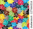 Decorative seamless floral hip[pie design in colors. Abstract art. Raster version. - stock photo
