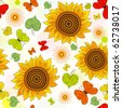 Decorative seamless floral summer pattern with sunflowers and butterflies - stock photo