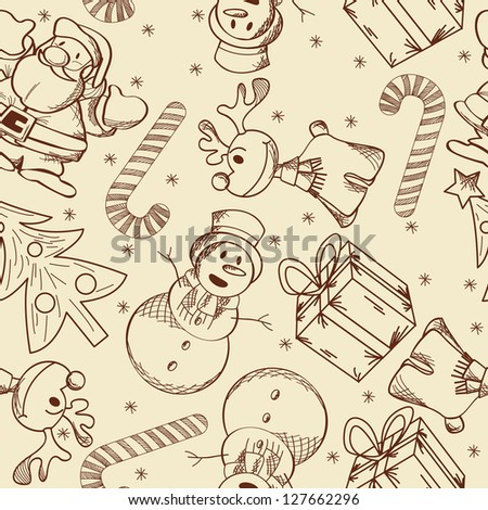 Decorative seamless pattern with Christmas doodles.. Raster version.