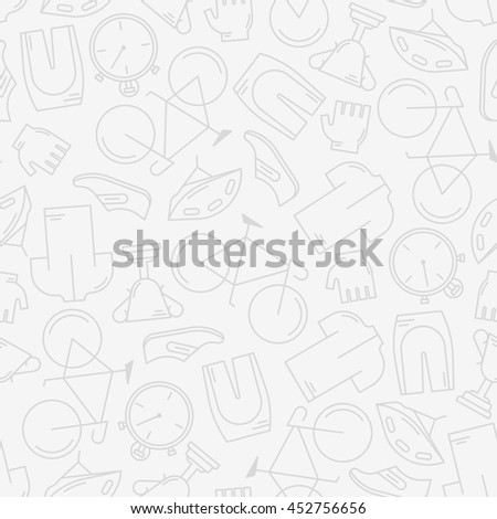 Decorative seamless pattern with cycling attributes. For wallpaper or wrapping. Healthy lifestyle or bicycle race concept. Endless trendy background with elements made in modern thin line style - stock photo