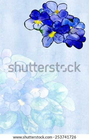 Decorative sheet of blue paper with Saintpaulia - stock photo