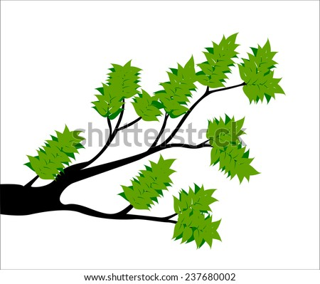 Decorative Spring Branch Tree Silhouette With Green Leaves - stock photo