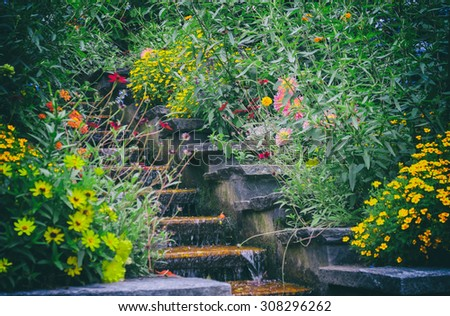 decorative  stair by garden flowers with small waterfall