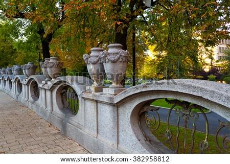 Decorative stone fence of a small square in Belgrade, Serbia - stock photo