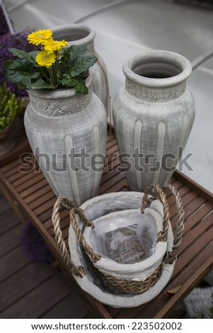 Decorative stone vases and baskets - stock photo