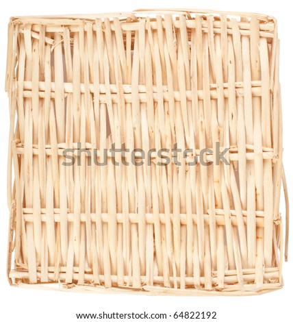 Decorative strawy basket isolated on white