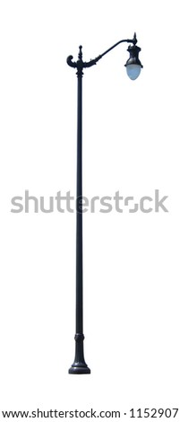 Decorative street light isolated on white background.  Includes clipping path. - stock photo