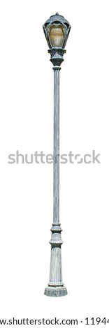 Decorative street light - isolated on white background.  Includes clipping path.