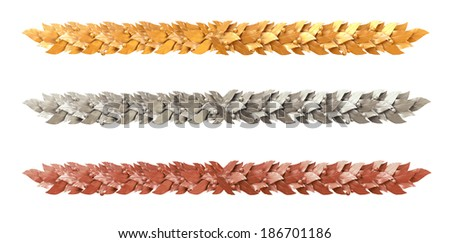 Decorative strip of Laurel branches - stock photo