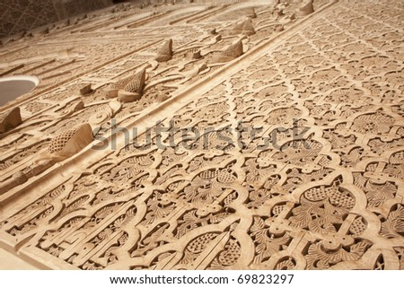 Decorative Stucco at Ben Youssef Medrassa in Marrakech, Morocco