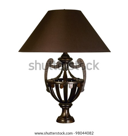 Decorative table lamp isolated on white background (clipping path ) - stock photo