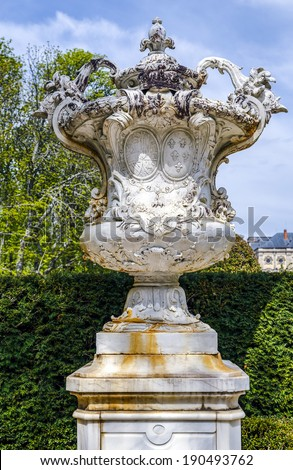 Decorative vases in the gardens of the Royal Palace of La Granja de San Ildefonso  - stock photo