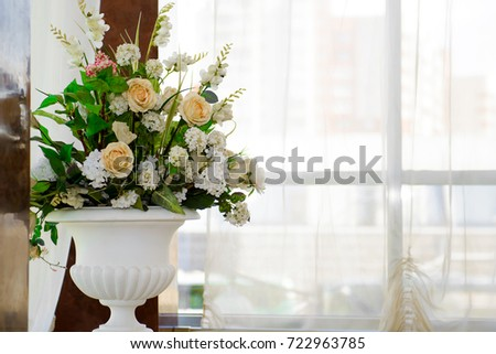 Decorative Vases Flowers By Window Detail Stock Photo Royalty Free