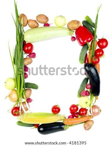 Decorative vegetables frame isolated on white - stock photo