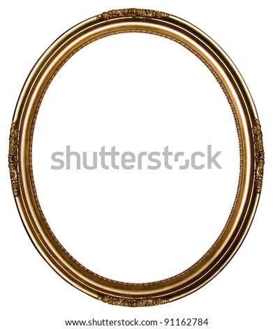 Decorative vintage gold frame isolated on white background - stock photo