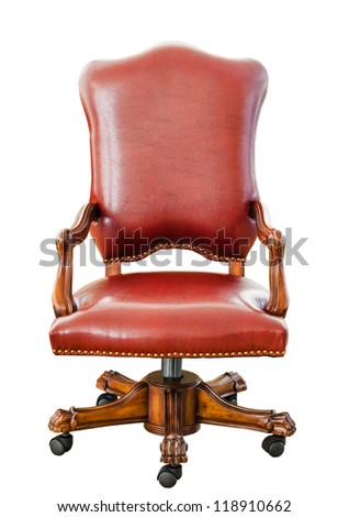 Decorative vintage style red leather chair , kind of furniture  isolated on white background - stock photo
