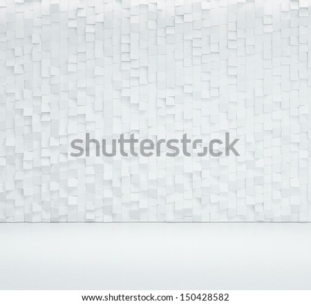 decorative wall and white floor - stock photo