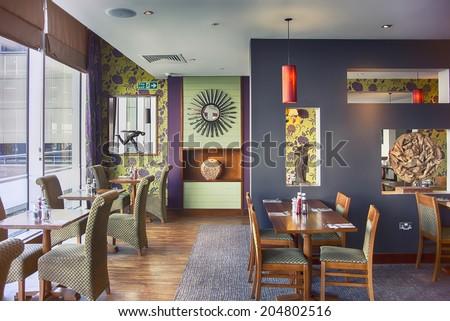 decorative wall in restaurant  interior - stock photo