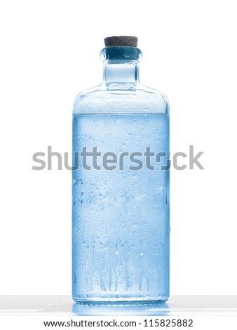 decorative water bottle on white background