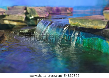 Decorative waterfall - stock photo