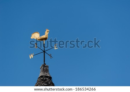 Decorative weather vane against blue sky.