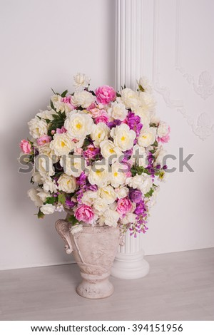 Decorative wedding bouquet of fresh beautiful flowers - stock photo