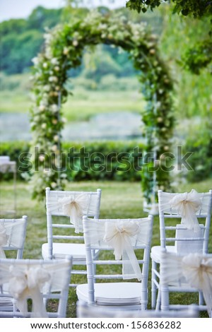 decorative wedding chairs - stock photo