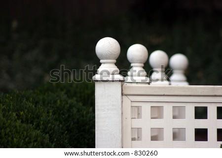 Decorative white fence. - stock photo