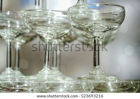 Decorative wine glasses arranged in line