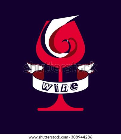 Decorative winery emblem, stylized goblet with wavy ribbon. Elegant artistic wineglass illustration, graphic design elements isolated on dark background. - stock photo