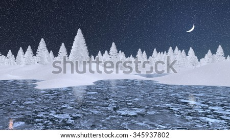 Decorative winter landscape with frosty fir trees and frozen lake at snowfall night with a half moon. 3D illustration was done from my own 3D rendering file. - stock photo