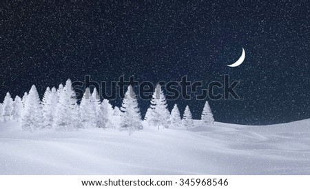 Decorative winter scenery with white silhouettes of frosty fir trees at snowfall night with a half moon. 3D illustration was done from my own 3D rendering file. - stock photo