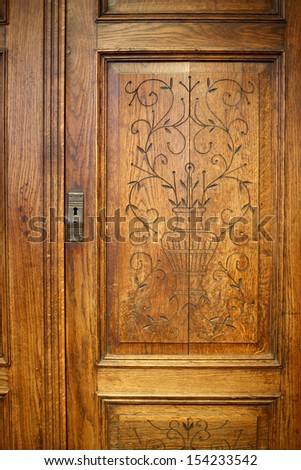 Decorative wooden door background