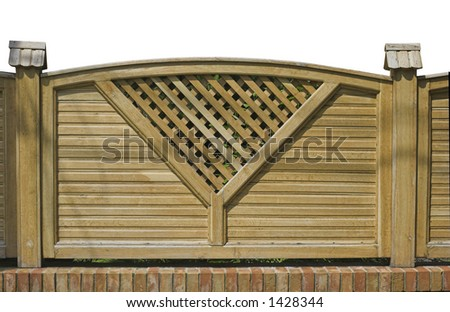 Decorative wooden fence detail with isolated background