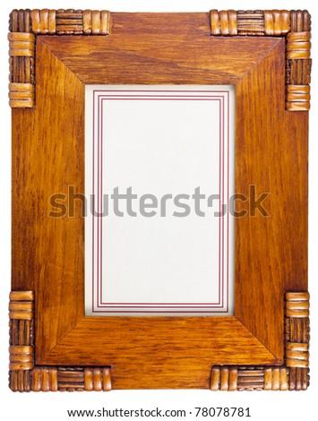 Decorative wooden photo frame isolated on white background - stock photo
