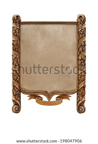Decorative wooden sign on white background - stock photo