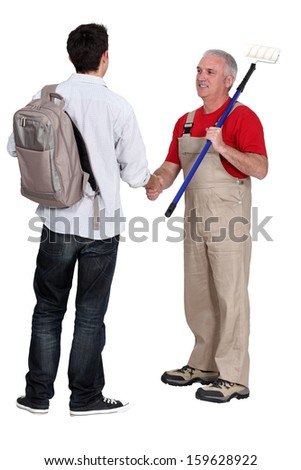 Decorator with new starter - stock photo