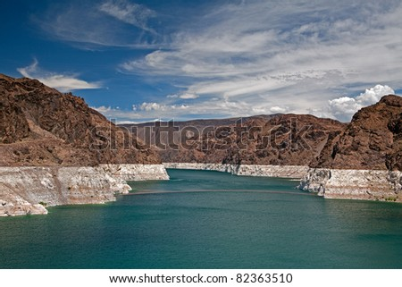Decreased water level in Black Canyon of Colorado river near Hoover Dam - stock photo