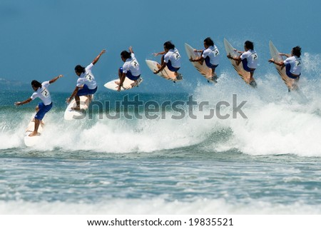 DEDE SURYANA - OCTOBER 19: gold medal winner of man aerial surfing category October 19, asian beach games 2008, bali, indonesia - stock photo