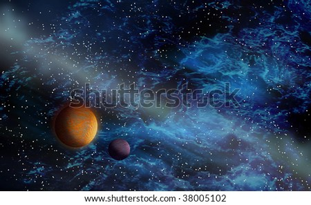 Deep black space with planets and nebulae
