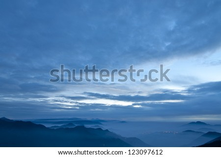deep blue color of mountains during sunset in the Taiwan