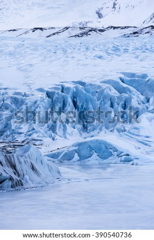 Deep blue colour of Svinafell Glacier in Skaftafell National Park. Iceland - stock photo
