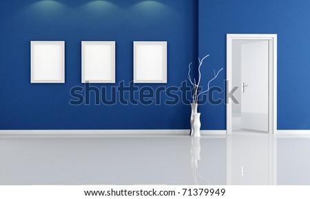 deep blue empty room with open door - rendering - stock photo