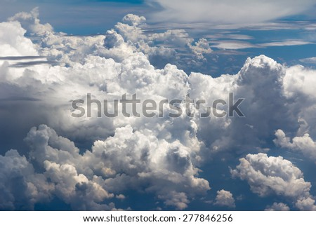 Deep Blue sky and clouds view as abstract - stock photo