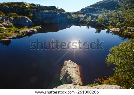 Deep blue small mountain Norway lake with rocky shore