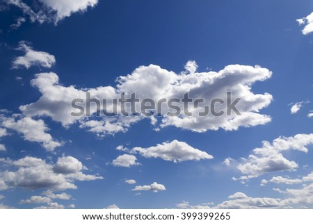 Deep Clear Sky With Clouds. Full Frame As Background. Presentation  Template.Blue Sky