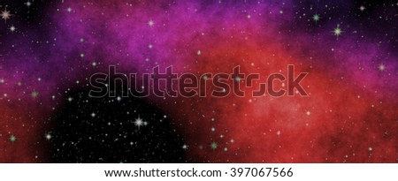 Deep cold universe. Panoramic looking into deep space. Dark night sky full of stars. The nebula in outer space. - stock photo